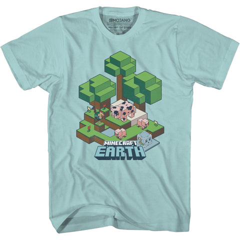 View 1 of Minecraft Earth Vintage Island Youth Tee photo.