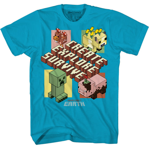 View 1 of Minecraft Earth ISO Boxes Youth Tee photo.