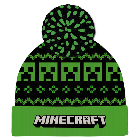 View 1 of Minecraft Creepy Pom Youth Beanie photo.