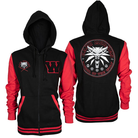 View 1 of The Witcher 3 Wolf School Pride Zip-Up Hoodie photo.