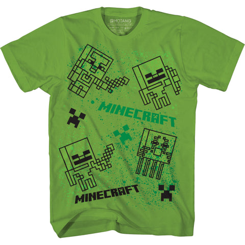 View 1 of Minecraft Spray Mobs Youth Tee photo.
