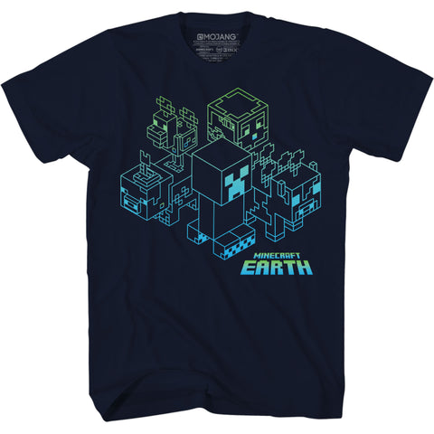 View 1 of Minecraft Earth Group Ombre Youth Tee photo.