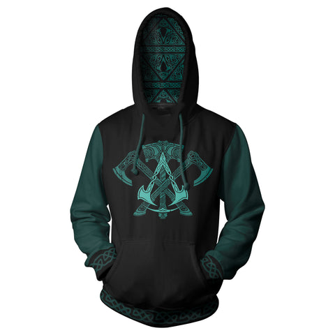View 1 of Assassin's Creed Valhalla Armed Warrior Pullover Hoodie photo.