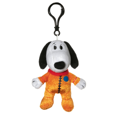 View 1 of Snoopy in Space Snoopy Orange Astronaut Suit Clipsters Plush Hangers photo.
