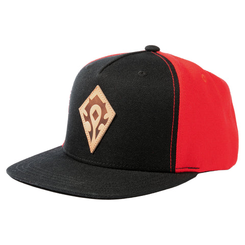 View 1 of World of Warcraft Horde Leather Emblem Snap Back Hat photo.