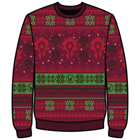 View 1 of World of Warcraft Horde Ugly Holiday Sweater photo.