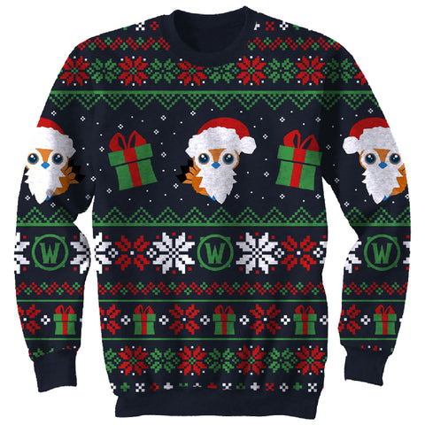 View 1 of World of Warcraft Great Feather Pepe Ugly Holiday Sweater photo.