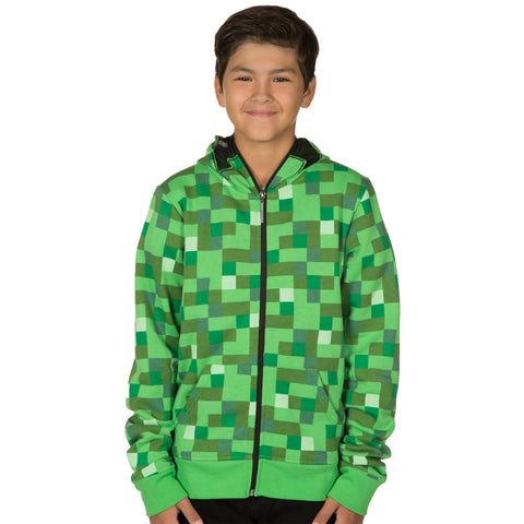 View 1 of Minecraft Creeper Premium Zip-Up Youth Hoodie photo.