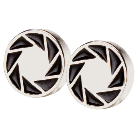 View 1 of Portal 2 Aperture 80s Logo Earrings photo.