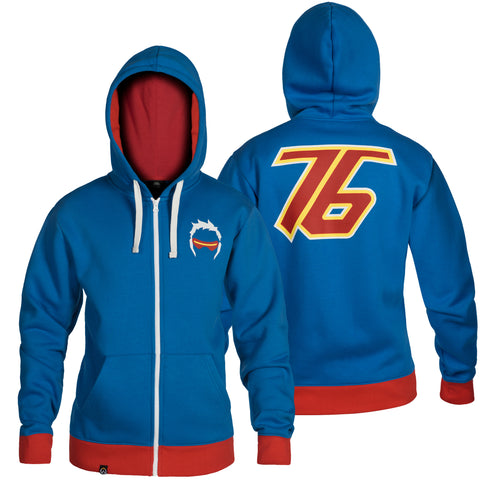 View 1 of Overwatch Ultimate Soldier 76 Zip-Up Hoodie photo.