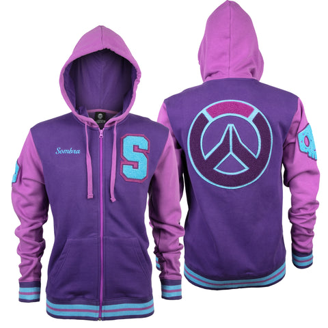 View 1 of Overwatch Varsity Sombra Zip-Up Hoodie photo.