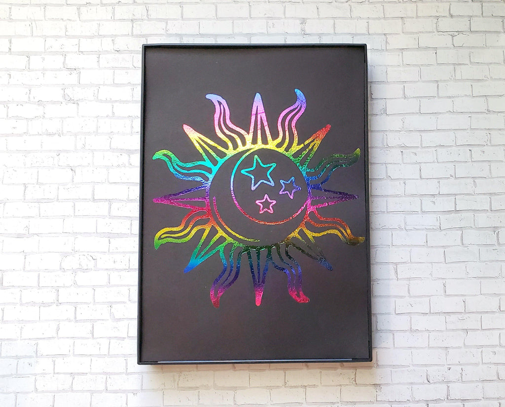 Sun + Moon Rainbow Foiled & Framed Print