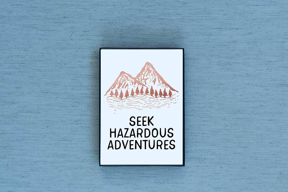 Seek Hazardous Adventures Foiled & Framed Print
