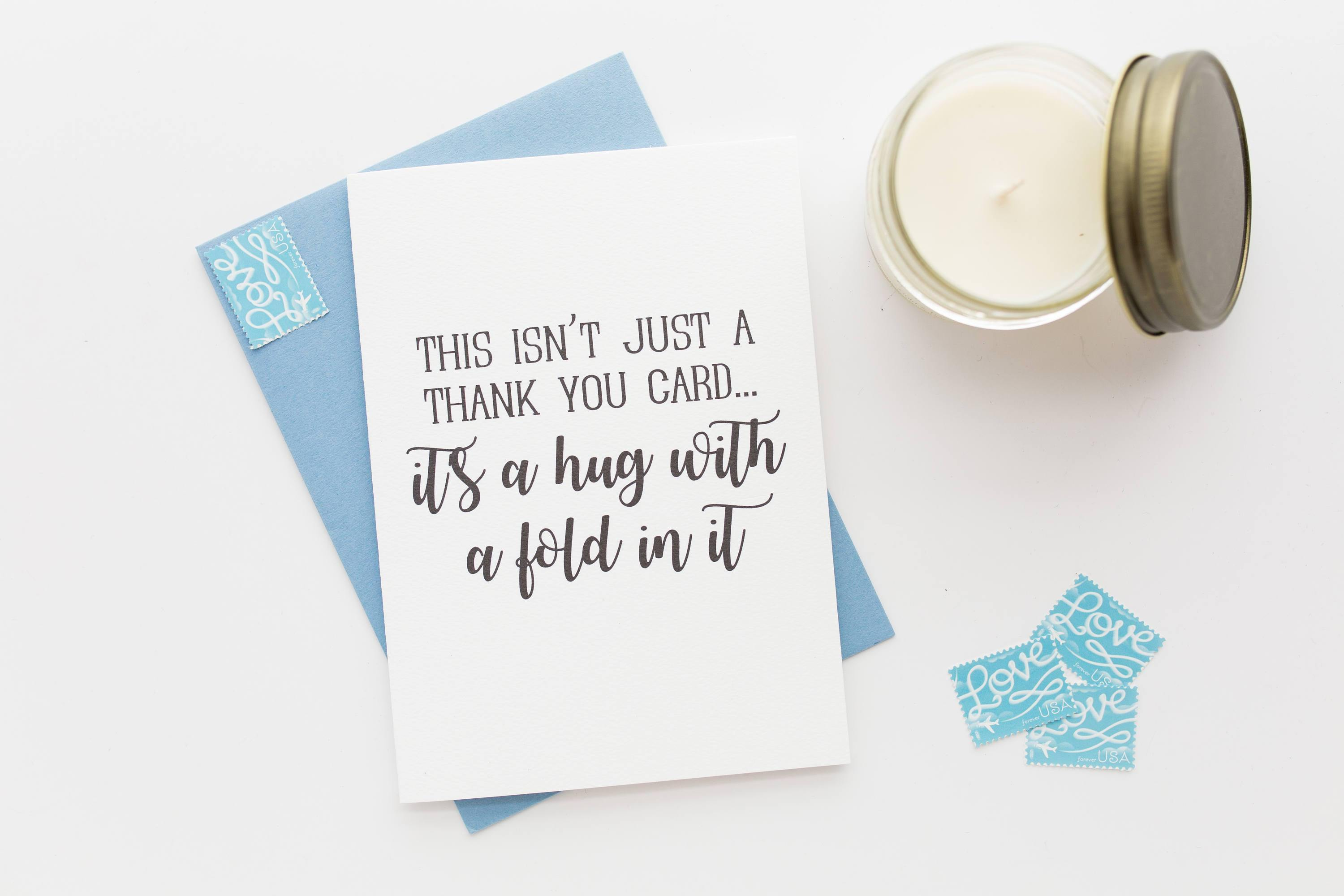 Hug with a Fold In It Thank You Card