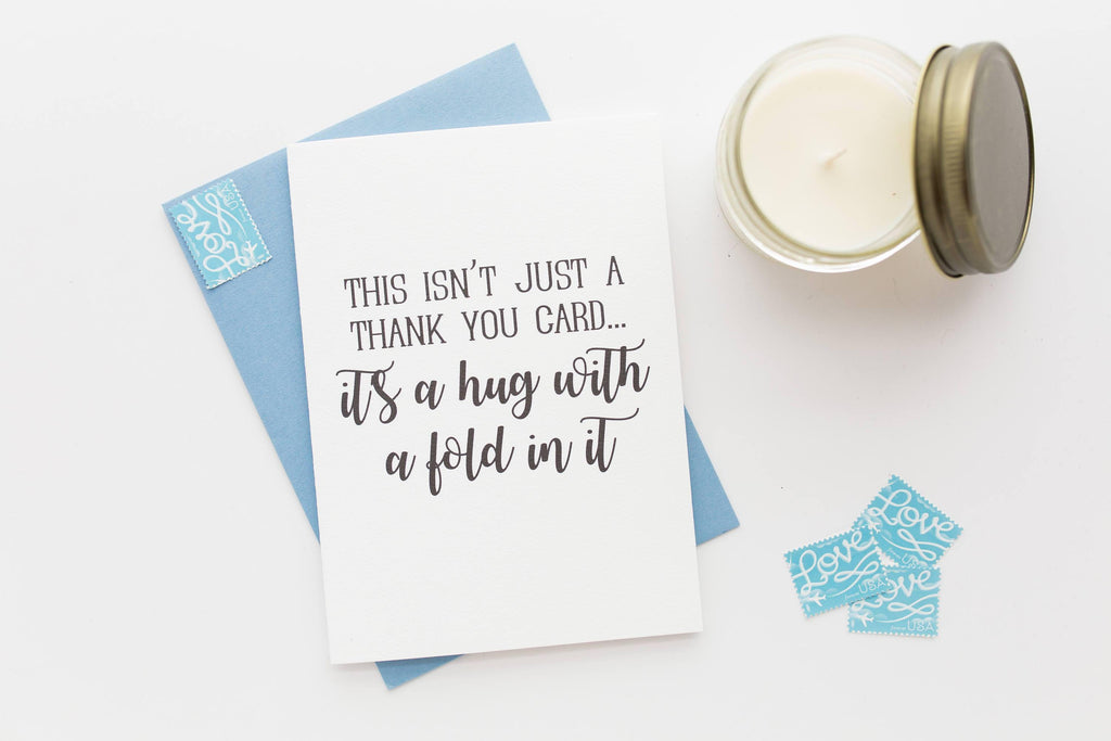 hug with a fold in it thank you greeting card