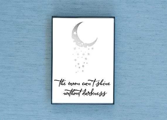 The Moon Can't Shine Without Darkness Silver Foil & Framed Print - Lucky Dog Design Co.