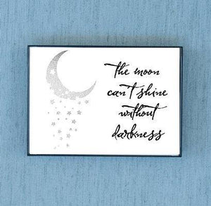 The Moon Can't Shine Without Darkness Silver Foil & Framed Print