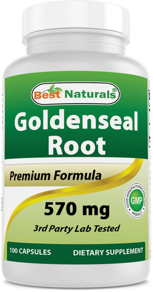 Best Naturals Goldenseal Root 570 mg 100 Capsules