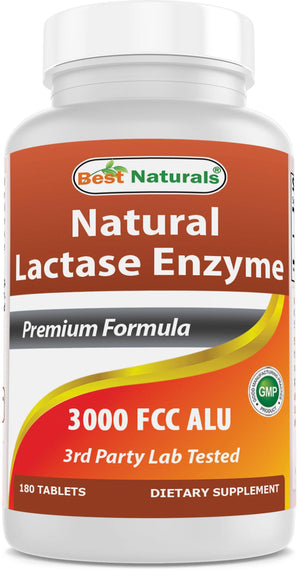Best Naturals Lactase Enzyme 3000 FCC 180 Tablets
