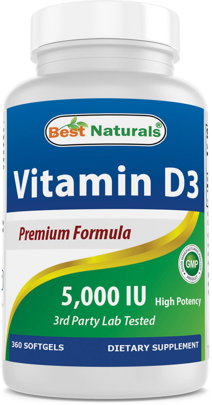 Best Naturals Vitamin D3 5000 IU 360 Softgels