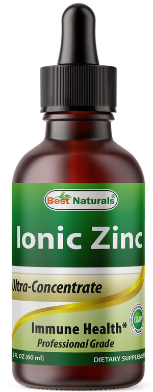Best Naturals Ionic Liquid Zinc - Immune Support - High Bioavailability - Glass Bottles 2 OZ (60ml)