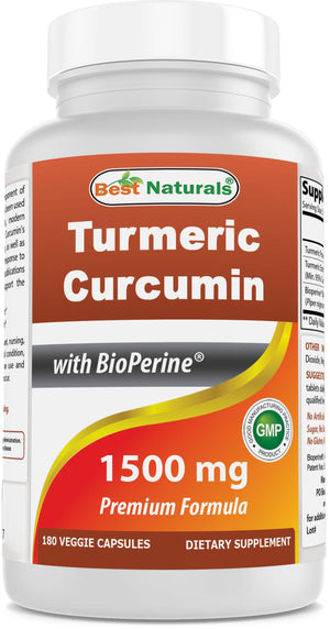 Best Naturals Turmeric Curcumin 1500mg/Serving with Bioperine - 180 Veggie Capsules