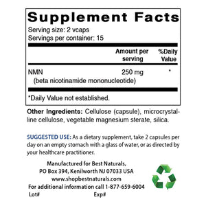 Best Naturals NMN Supplements 30 Veggie Capsules