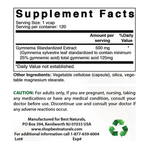 Best Naturals Gymnema Sylvestre 500 mg 120 Capsules