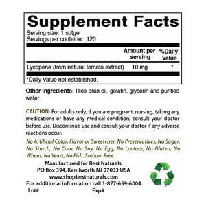 Best Naturals Lycopene 10 mg 120 Softgels