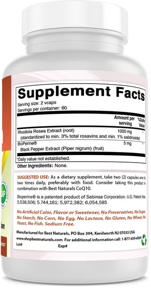 Best Naturals Rhodiola 1000mg with Bioperine 120 Veggie Capsules