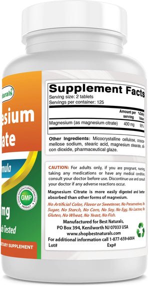 Best Naturals Magnesium Citrate 200 mg 250 tablets