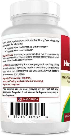 Best Naturals Horny Goat Weed with Maca Root 120 Capsules