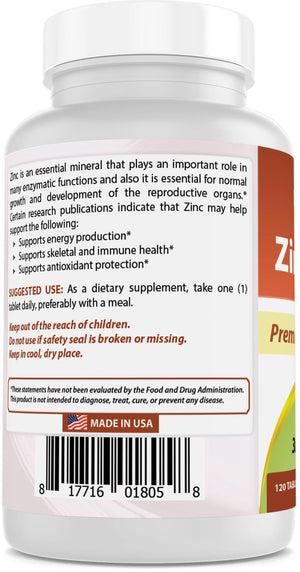 Best Naturals Zinc Citrate 30 mg - Immune Support - 120 Tablets