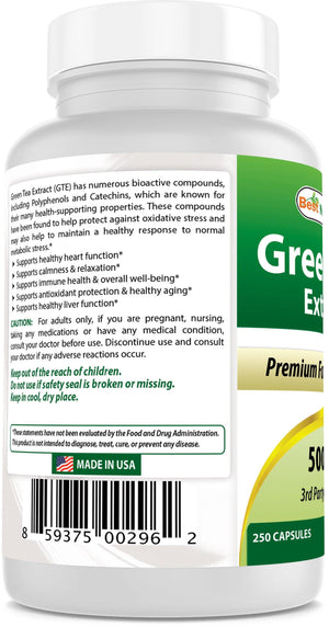 Best Naturals Green Tea Extract 500 mg 250 Capsules