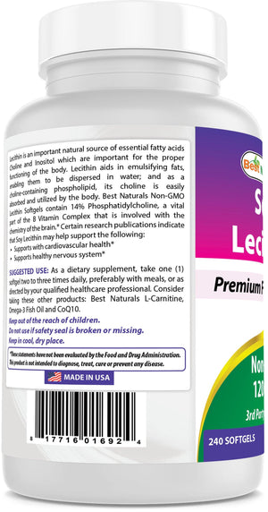 Best Naturals Soy Lecithin Non-GMO 1200 mg 240 Softgels