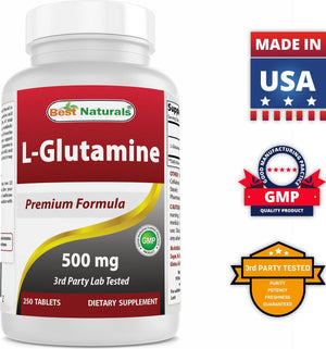 Best Naturals L-Glutamine 500 mg 250 Tablets