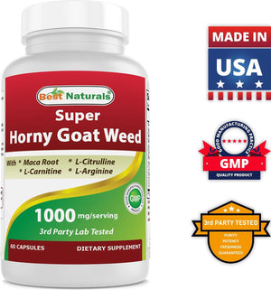 Best Naturals Horny Goat Weed with Maca Root 60 Capsules