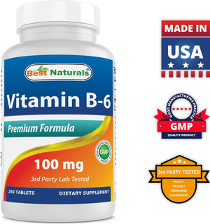 Best Naturals Vitamin B6 100 mg 250 Tablets