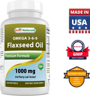 Best Naturals Flaxseed oil 1000 mg 240 Softgels