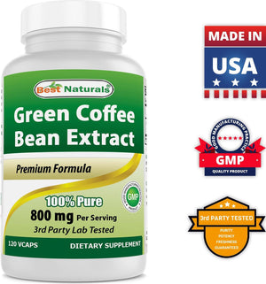Best Naturals Green Coffee Bean Extract 800 mg 120 Vcaps