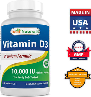 Best Naturals Vitamin D3 10000 IU 240 Softgels