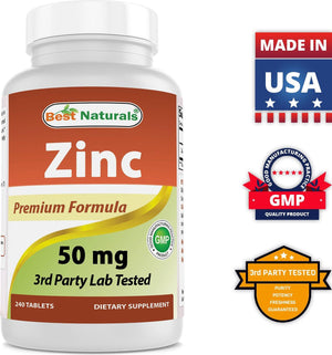 Best Naturals Zinc Supplement as Zinc Gluconate 50mg 240 Tablets