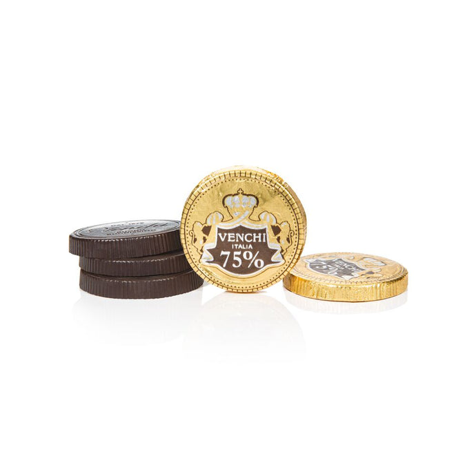 24 Venchi 75% Dark Chocolate Coins Bulk 4oz (5272491196575)