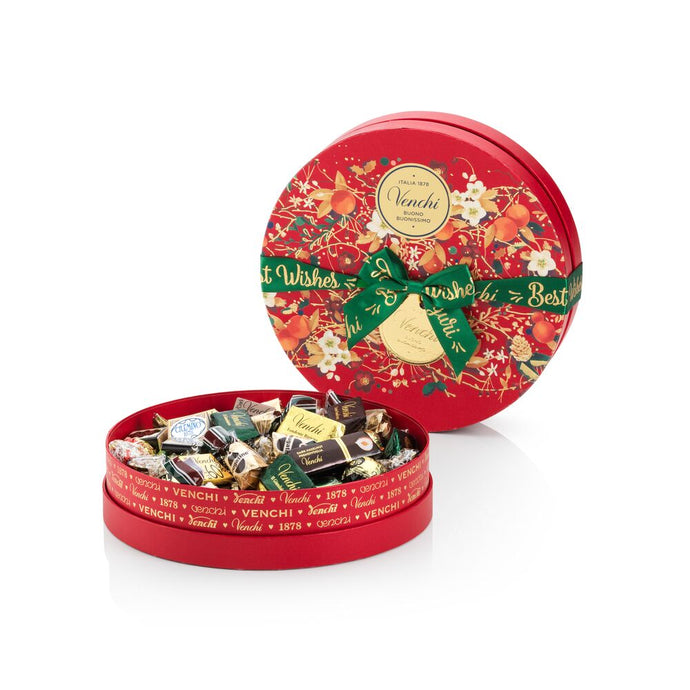 Assorted chocolates in a Christmas hatbox-style gift box 14.04oz