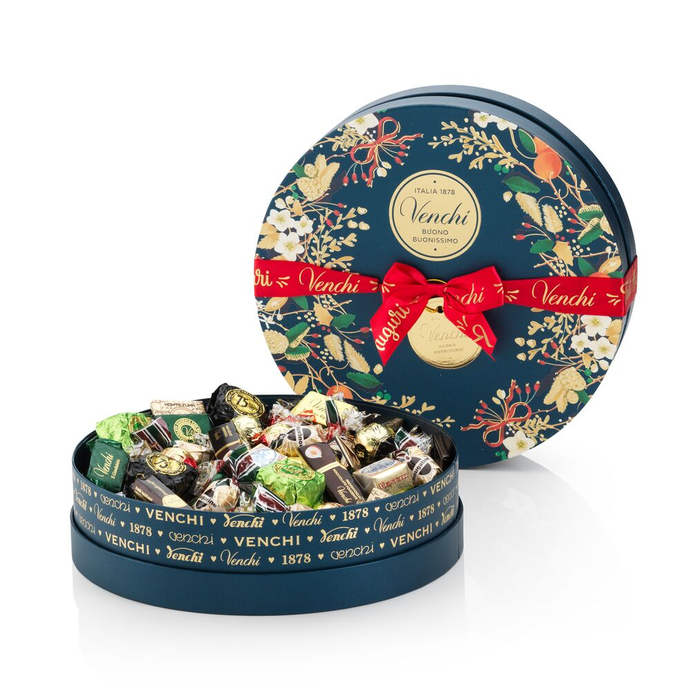 Assorted chocolates in a Christmas hatbox-style gift box 1.7lbs