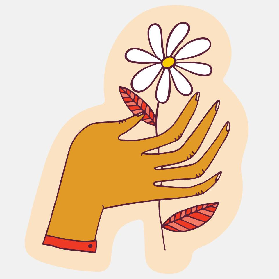 Hand Flower Sticker
