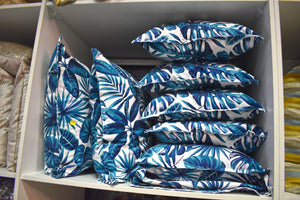 RiOr Tropical Blue Flower Scatter Cushions