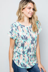 TIE DYE SHORT SLEEVES ROUND NECK -MINT COLOR