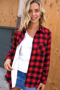 PLAID FLEECE LINED FLANNEL RED