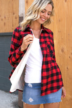 Load image into Gallery viewer, PLAID FLEECE LINED FLANNEL RED